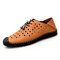 Men Hand Stitching Rubber Toe Cap Hole Leather Shoes - Brown