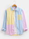 Mens Macaron Striped Patchwork Cotton Long Sleeve Shirts With Pocket - Yellow