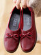 Women Casual Soft Comfy Single Shoes Floral Bowknot Design Flats - Red
