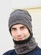 男性2 / 3PCSPlusベルベット暖かく冬の首の保護ヘッドギアスカーフフルフィンガーグローブニット帽ビーニー - #04