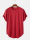 Mens Basic Solid Color Casual Breathable & Thin O-Neck T-Shirts - Red