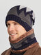 Men 2PCS Plus Velvet Thick Winter Outdoor Keep Warm Neck Protection Headgear Scarf Knitted Hat Beanie - Navy