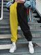 Contrast Color Elastic Waist Causal Sport Pant for Women - Yellow