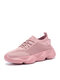 Women Breathable Knitted Fabric Lace-up Sport Casual Running Sneakers - Pink