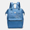Women Anti theft Waterproof Embroidery Casual Backpack School Bag - Sky Blue