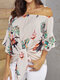 Flower Print Half Sleeve Knotted Loose Blouse for Women - Apricot