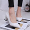 Faux Alligator Patent Leather Chunky Heel Pumps - White
