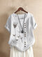 Floral Print O-neck Short Sleeve Casual T-Shirt For Women - White