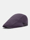 Men Cotton Solid Color Casual All-match Beret Flat Cap - Purple