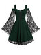 Lace Patchwork Bell Sleeve Drawstring Plus Size Slip Dress for Women - Green
