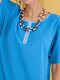 Casual Short Sleeve Buttons O-neck Dresses for Women - Blue
