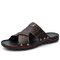 Men PU Leather Non Slip Beach Home Casual Slides Slippers - Brown
