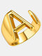 Luxury Name Initials Women Ring Open Adjustable 26 English Letters Pendant Ring - A