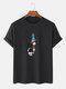 メンズ100%コットン無地漫画宇宙飛行士プリントルーズシンTシャツ - 黒