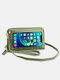 Stylish Multi-slots Textured Hardware Stitch Detail Touch Screen On The Back 7.8 Inch Detachable Phone Bag Clutch Bag - Green