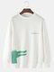 Mens Cartoon Crocodile & Letter Print Plain Casual Loose Long Sleeve Sweatshirts - White