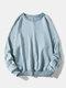メンズコットンソリッドカラーカジュアルルーズシンプルラウンドネックスウェットシャツ - 青い