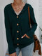 Casual Solid Color Long Sleeve Button Hooded Sweater - Dark Green