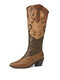 LOSTISY Plus Size Women Ethnic Rivet Embroidered Chunky Heel Cowboy Boots - Dark Green