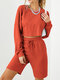 Solid Color Drawstring T-shirt Shorts Casual Sport Set for Women - Orange red