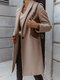 Solid Color Long Sleeve Lapel Casual Coat For Women - Gray