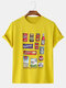 Mens Cotton Breathable Brand Logo Printed Street Wear Short Sleeve Graphic T-Shirt - Yellow