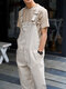 Mens 100% Cotton Loose Pocketed Jumpsuit Overalls One Pants - Khaki