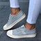 Large Size Women Canvas Elastic Band Casual Flat Shoes - Blue