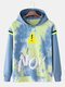 Mens Cotton No Printing Faux Twinset Loose Pullover Hoodie - Blue