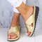 Large Size Women Comfy Open Toe Solid Color Non Slip Wedges Slippers - Gold