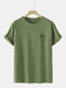 Mens Line Drawing Rose Graphic 100% Cotton Short Sleeve T-Shirts - Green