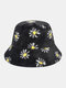 Women & Men Lamb Wool Fur Soft Warm Plus Thicken Casual All-match Cute Daisy Flower Pattern Bucket Hat - Black