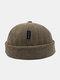 Unisex Corduroy Letter Pattern Label Fashion Warmth Brimless Beanie Landlord Cap Skull Cap - Coffee
