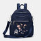 Women Nylon Embroidery Multiple-Carry Backpack - Blue