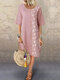 Floral Printed Patchwork Button O-Neck Midi Dress - Light Pink