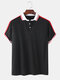 Mens Plain Casual Short Sleeves Polo Shirt With Contrast Ribbed Trims - Black