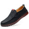 Men Comfy Microfiber Soft Sole Slip On Casual Leather Driving Shoes - Black