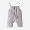 Girl's Solid Color Sleeveless Rompers Casual Slip Jumpsuit For 2-8Y - Gray