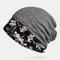 Шарф-бини с кружевной вышивкой и принтом Шапка Тюрбан двойного назначения - Серый