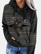Black Cat Print Patchwork Striped Long Sleeve Plus Size Hooded T-shirt - Black