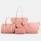 Women 6 PCS Print Large Capacity Handbag Shoulder Bag Tote - Pink