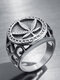 Punk Alloy Maple Leaf European and American Personality Ring - Silver