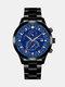 سبيكة غير القابل للصدأ أعمال فولاذية حزام كوارتز Watch تقويم ثنائي العين Watch - #02