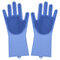 Silicone Dishwashing Gloves Kitchen Bathroom with Cleaning Brush Housekeeping Scrubbing Gloves