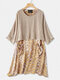 Contrast Color Floral Print Two Pieces Vintage Dress For Women - Yellow