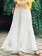 Flower Embroidery Double Layer Elastic Waist Split Pants - White