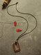 أشابة خشبية خمر القطن الكتان مربع حبة قلادة قلادة سترة طويلة - أحمر