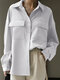 Casual Solid Color Pockets Long Sleeve Shirt For Women - White