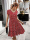 Stringy Selvedge Floral Print Short Sleeve Dress For Women - Wine Red