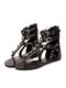 Large Size Women Bohemian Summer Rivet Thong Sandals With Skull And Cross - Black